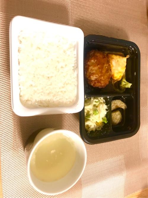 ヨシケイのシンプルミールとレンチンご飯とスープで夕食